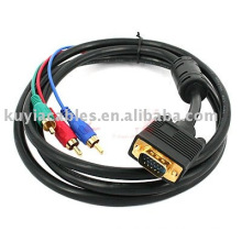 VGA TO 3 RCA CABLE Cable For Computer PC VGA to TV 3 RCA AV Adapter